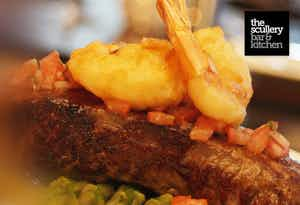 £35 for Nibbles, Surf & Turf + Bottle of Wine for 2