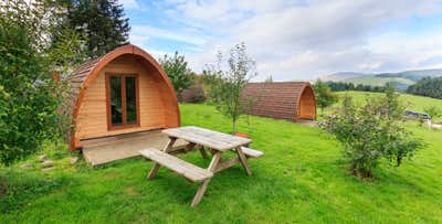 1 or 2 Night Stay in Glamping Pod with Fire Pit Package + Bottle of Fizz for 2, from £49
