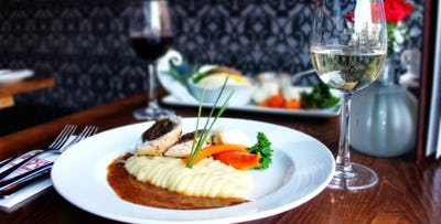 £27 for a 2 Course Meal + Wine for 2