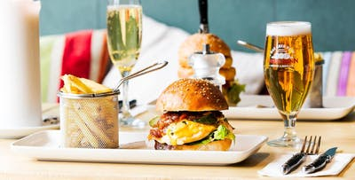 Gourmet Burger with Fries + Mimosa, Beer or G&T for 2 or 4; from £16