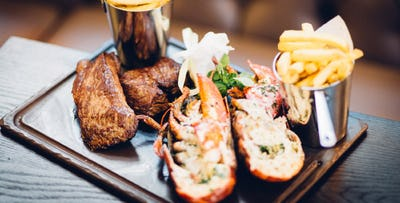 £49 for Steak & Lobster with Bottle of Prosecco to Share + Chocolat Liégois Desserts for 2