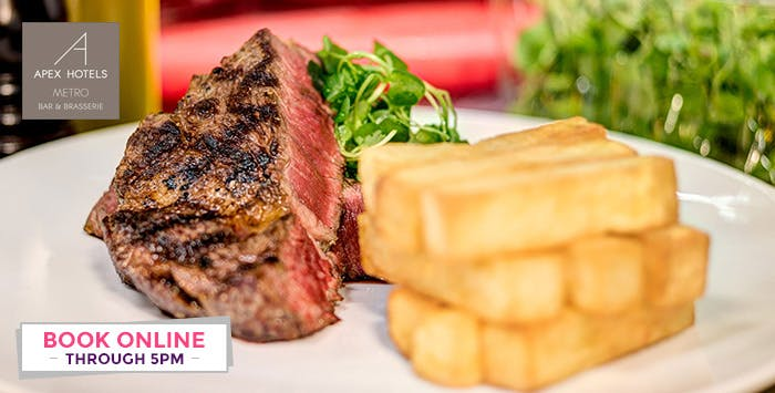 Choice of Sirloin or Ribeye Steak & Chips for 2, from £22