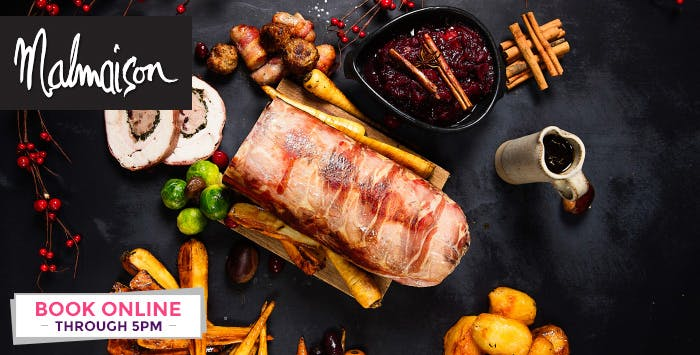 2 Course Festive Meal with Prosecco or Cocktail or Chateaubriand with Bottle of Prosecco or Wine for 2; from £29
