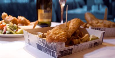 £12 for a Sit-In Fish Supper for 2. £20 for a Sit-In Fish Supper for 2 + Bottle of Wine.