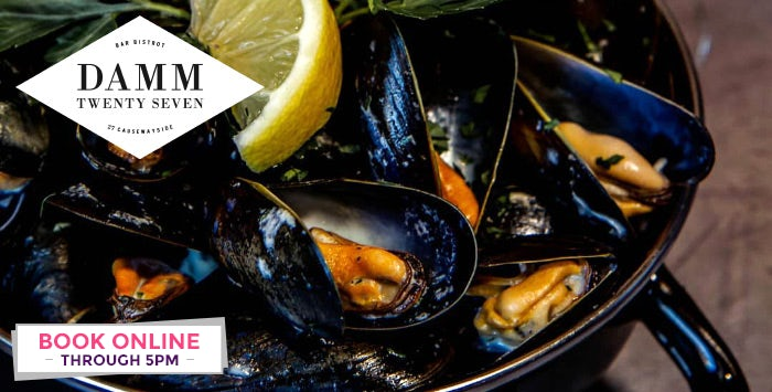 Burger or Mussels with Optional Dessert or Drink for 2; from £18