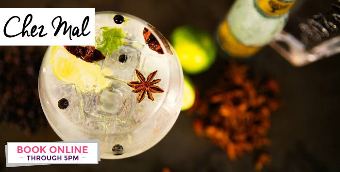 £29 for a 2 Course Meal + Glass of Prosecco or Cocktail for 2 at Chez Mal