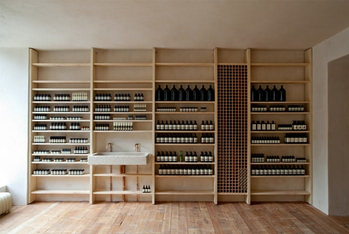 wall of products at Aesop Edinburgh